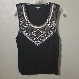 Express Black Sequin Tank Top